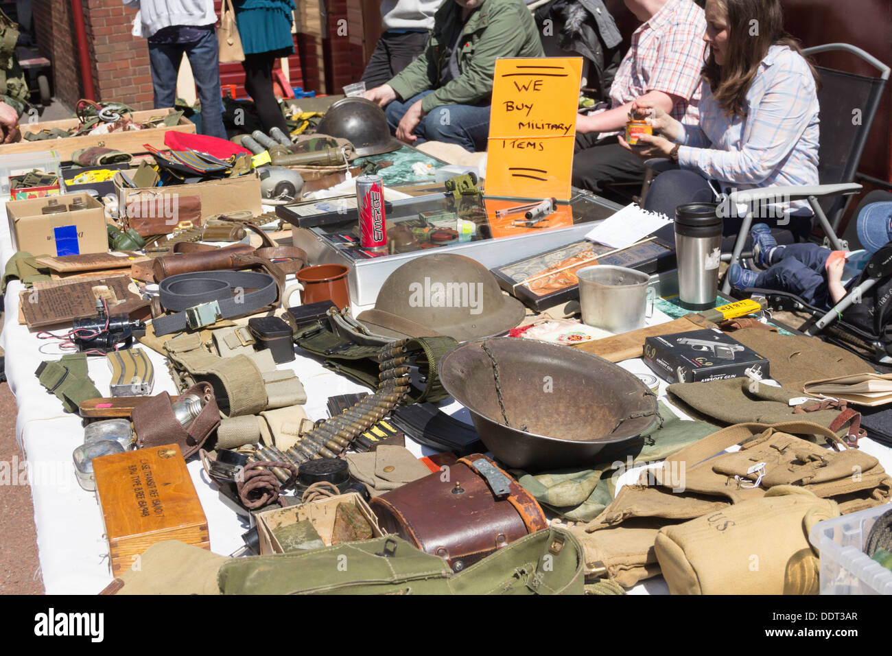 Military memorabilia stall at the 1940s 'wartime weekend' event on the East Lancashire Railway. - Stock Image