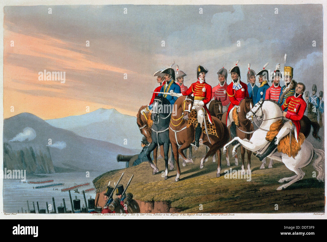 'The Duke of Wellington and his Staff Crossing the Bidassoa and Entering France', 1813 (1816). Artist: Matthew Dubourg - Stock Image