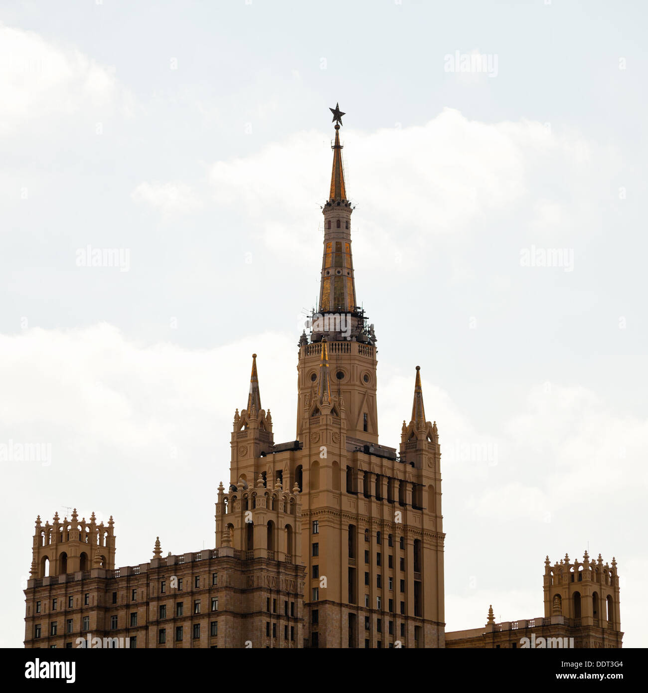 stalinist high-rise - kudrinskaya square building in Moscow Stock Photo