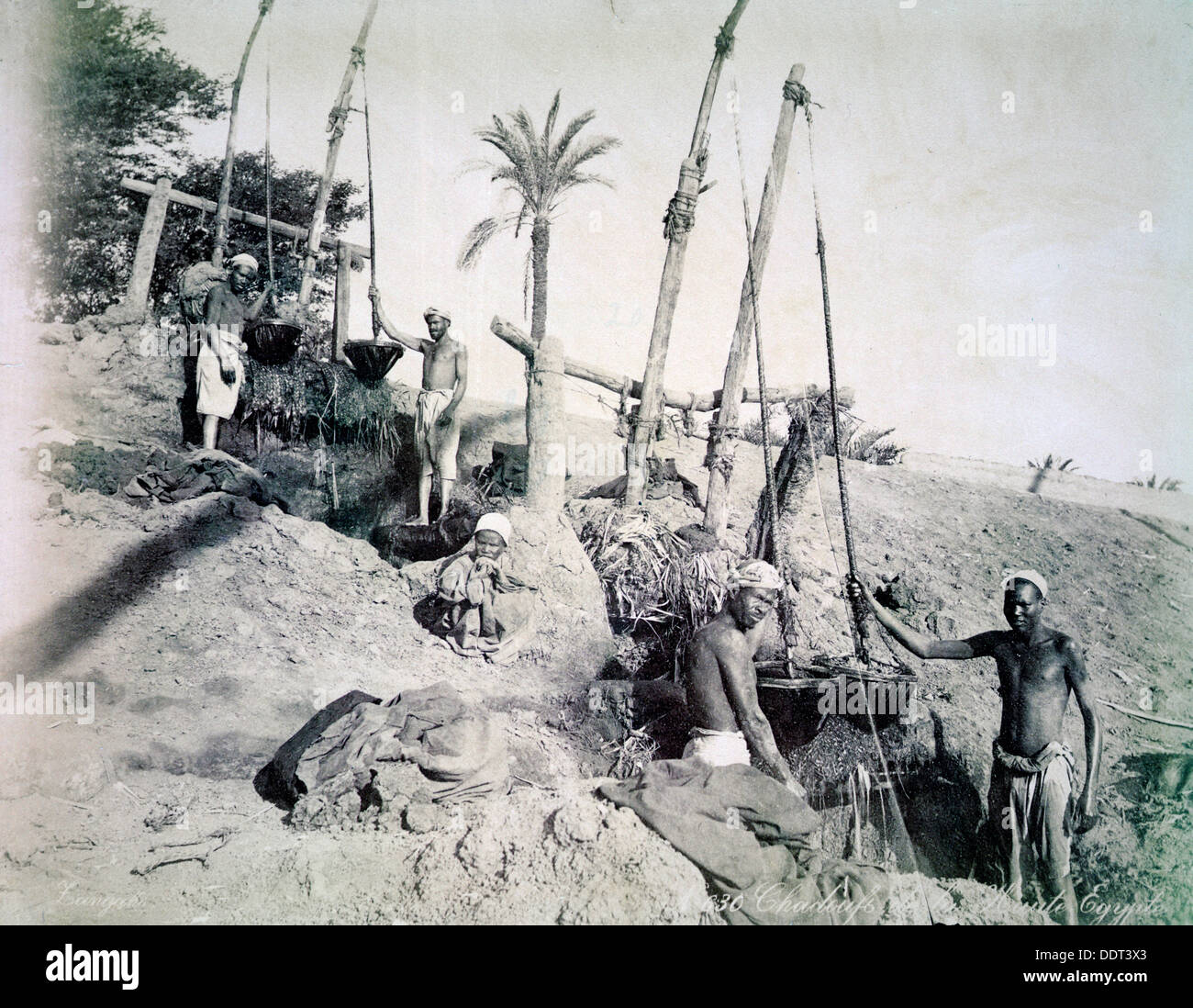 Shadufs in Upper Egypt, late 19th century. Artist: G Lekegian - Stock Image