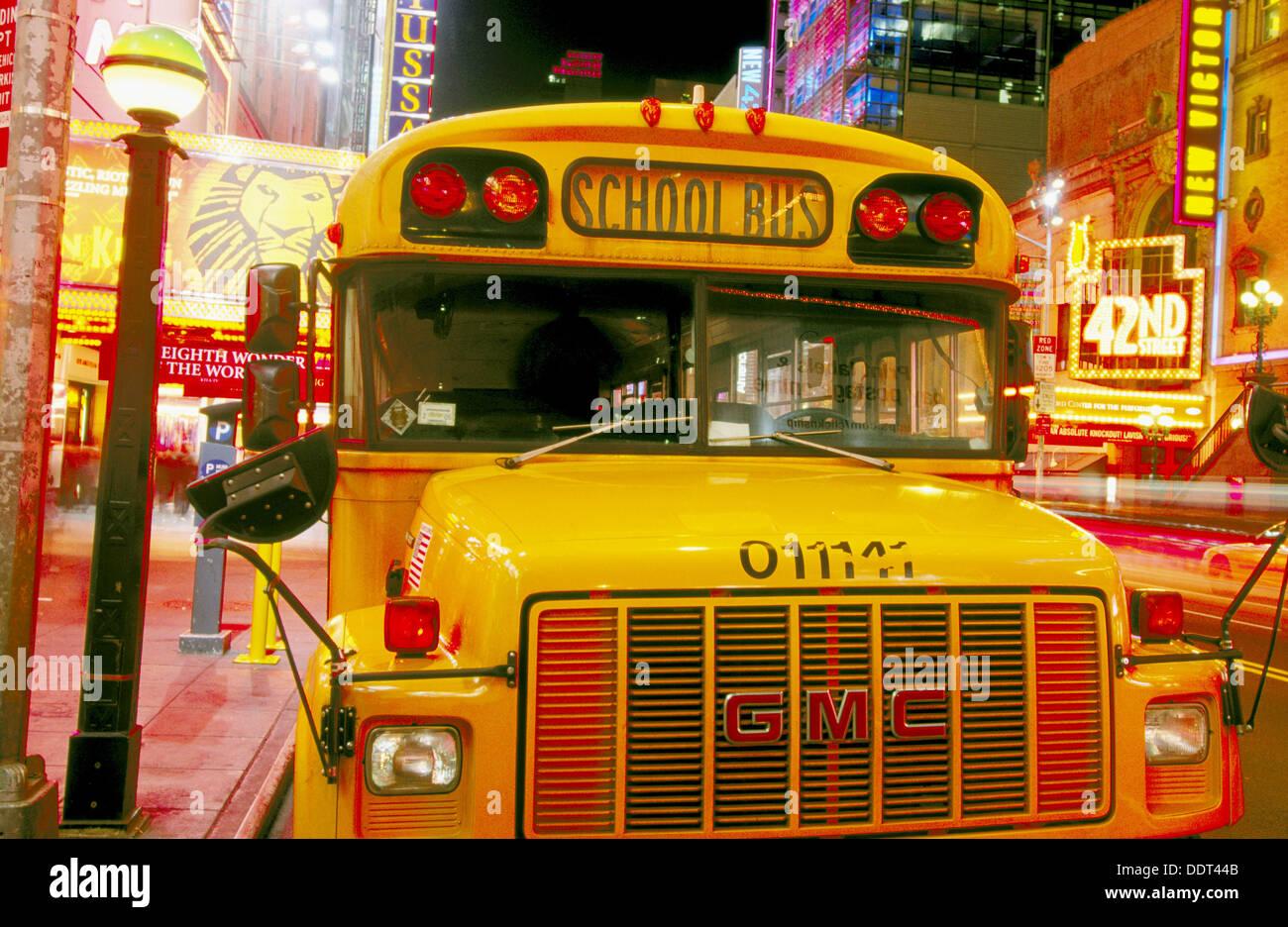 School bus on 42nd Street. New York City, USA - Stock Image