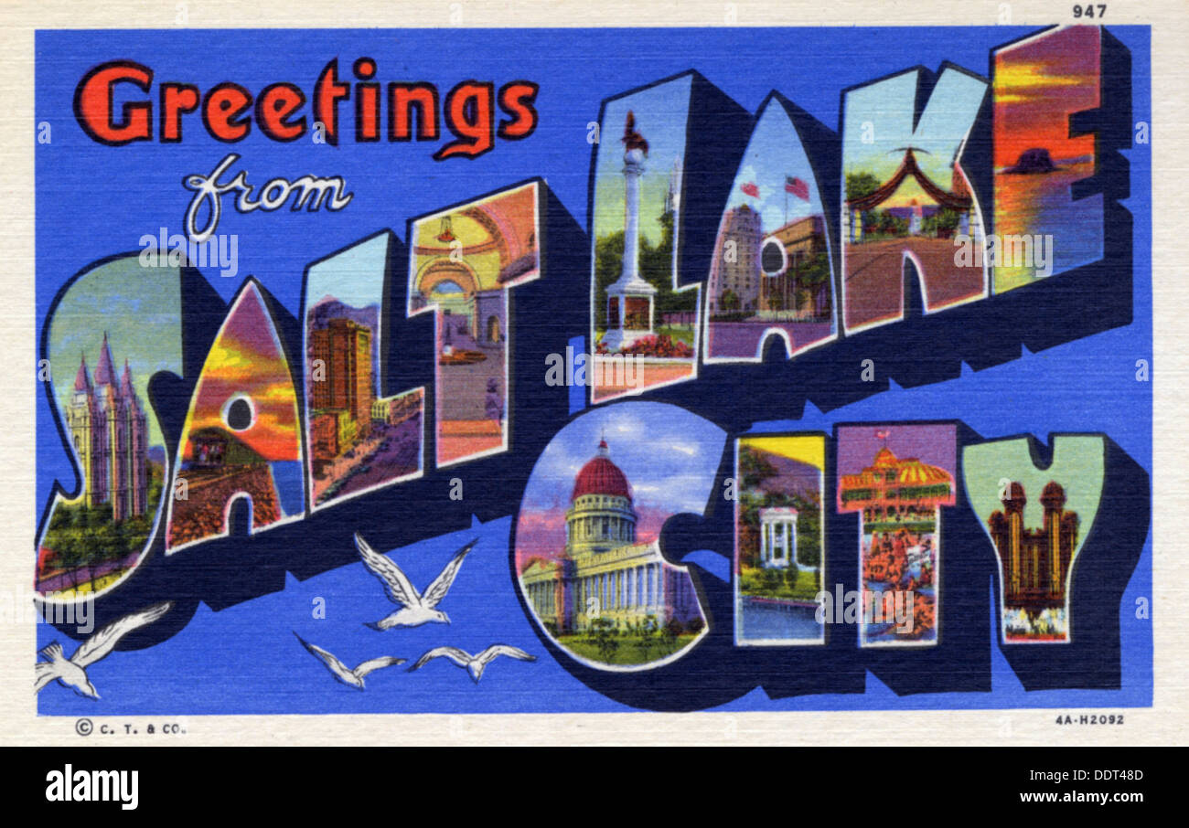 Greetings From Salt Lake City Postcard 1934 Stock Photo 60151853