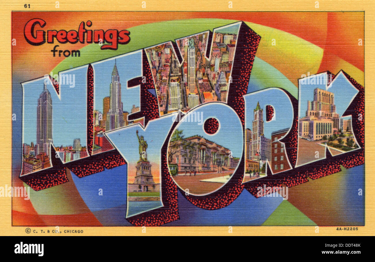Greetings From New York Postcard 1934 Stock Photo 60151859 Alamy