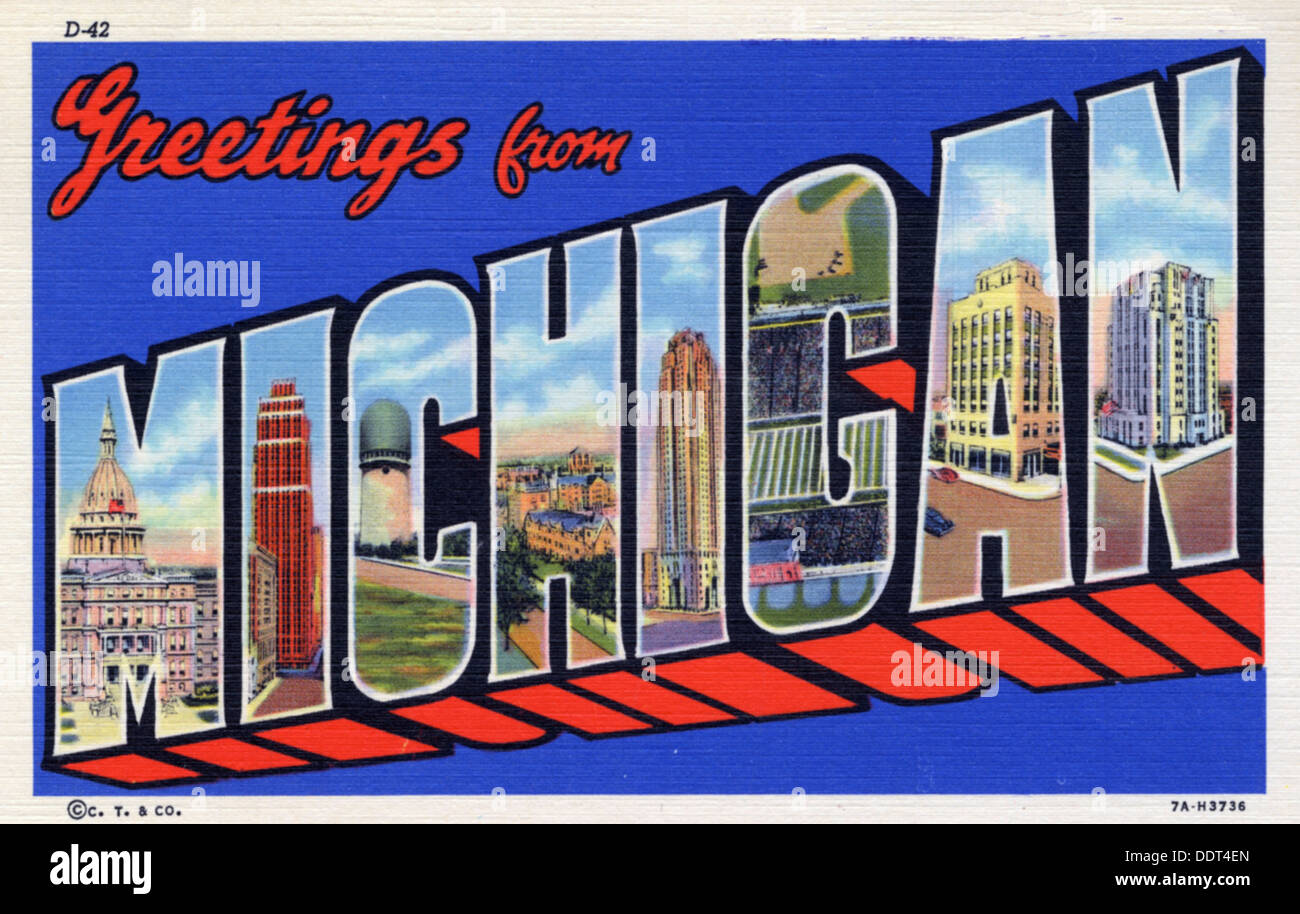 Greetings from michigan postcard 1937 stock photo 60152029 alamy greetings from michigan postcard 1937 m4hsunfo