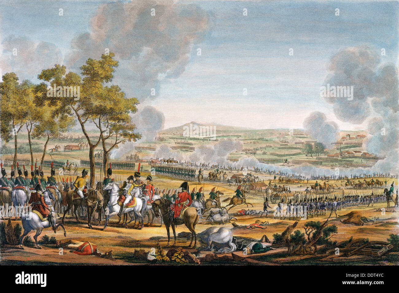 The Battle of Wagram, Austria, 7th July 1809. Artist: Louis Francois Mariage - Stock Image
