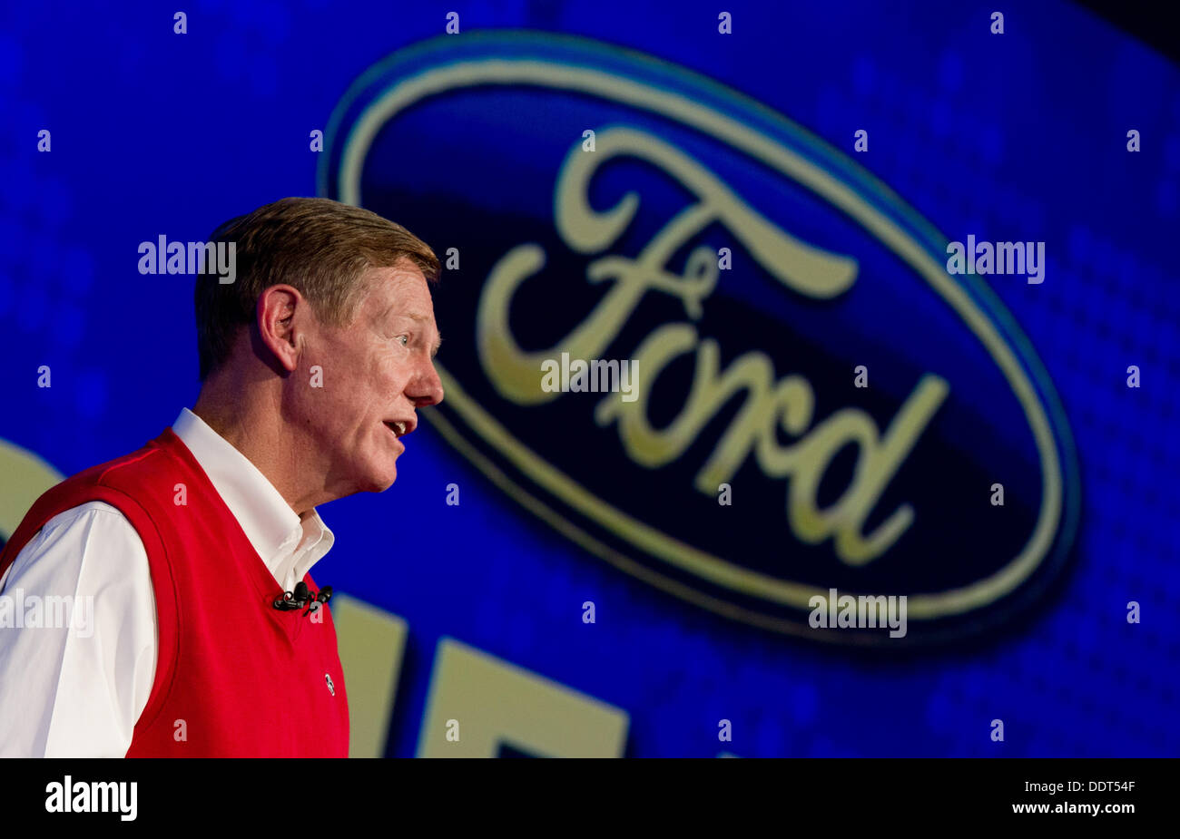CEOof Ford Alan Mulally talks during a news conference about the S-Max Concept car at the Berlin Radio Show IFA in Berlin, Germany, 06 September 2013. The international radio exhibition is open to the public until 11 September 2013. Photo:RAINER JENSEN - Stock Image