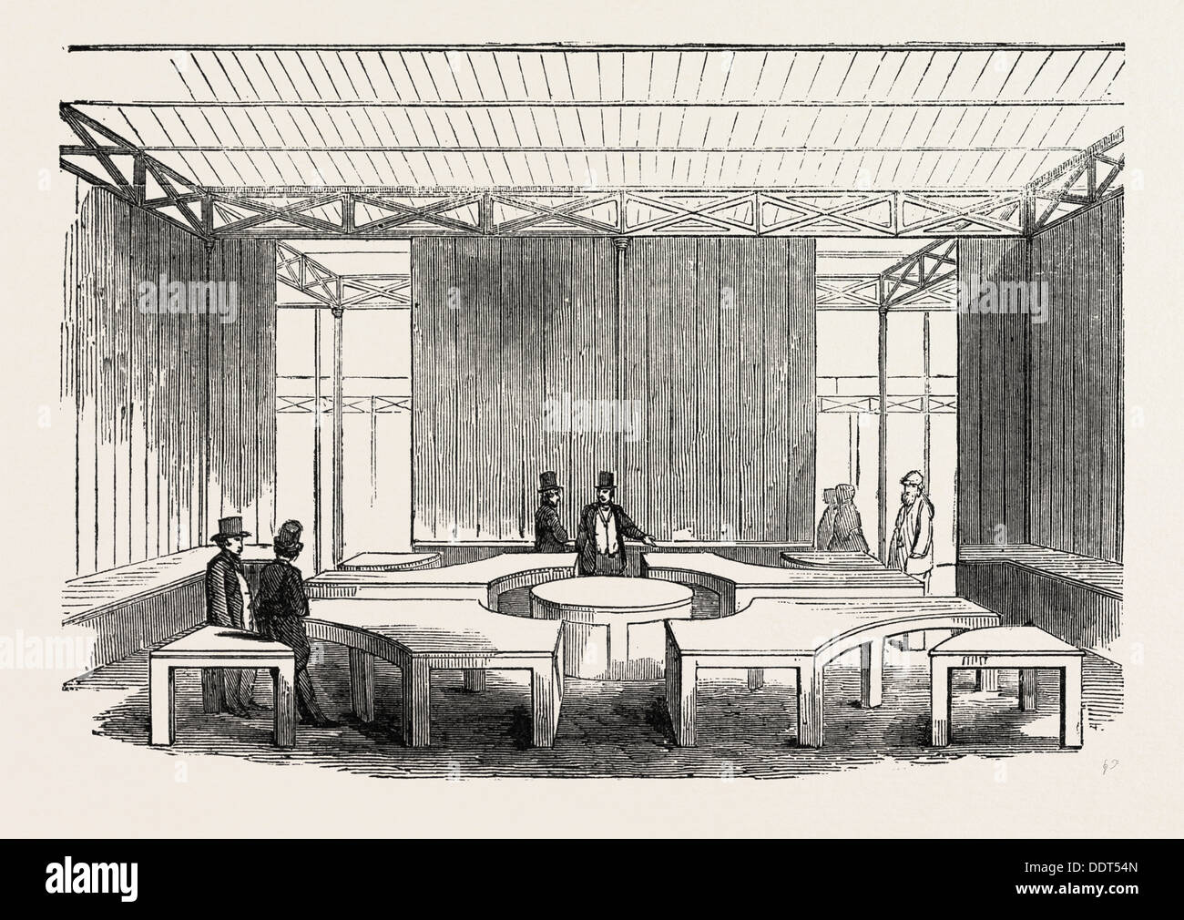 SUGGESTIONS FOR COUNTERS TO BE USED AT THE GREAT EXHIBITION IN THE CRYSTAL PALACE, LONDON, UK, 1851 engraving - Stock Image