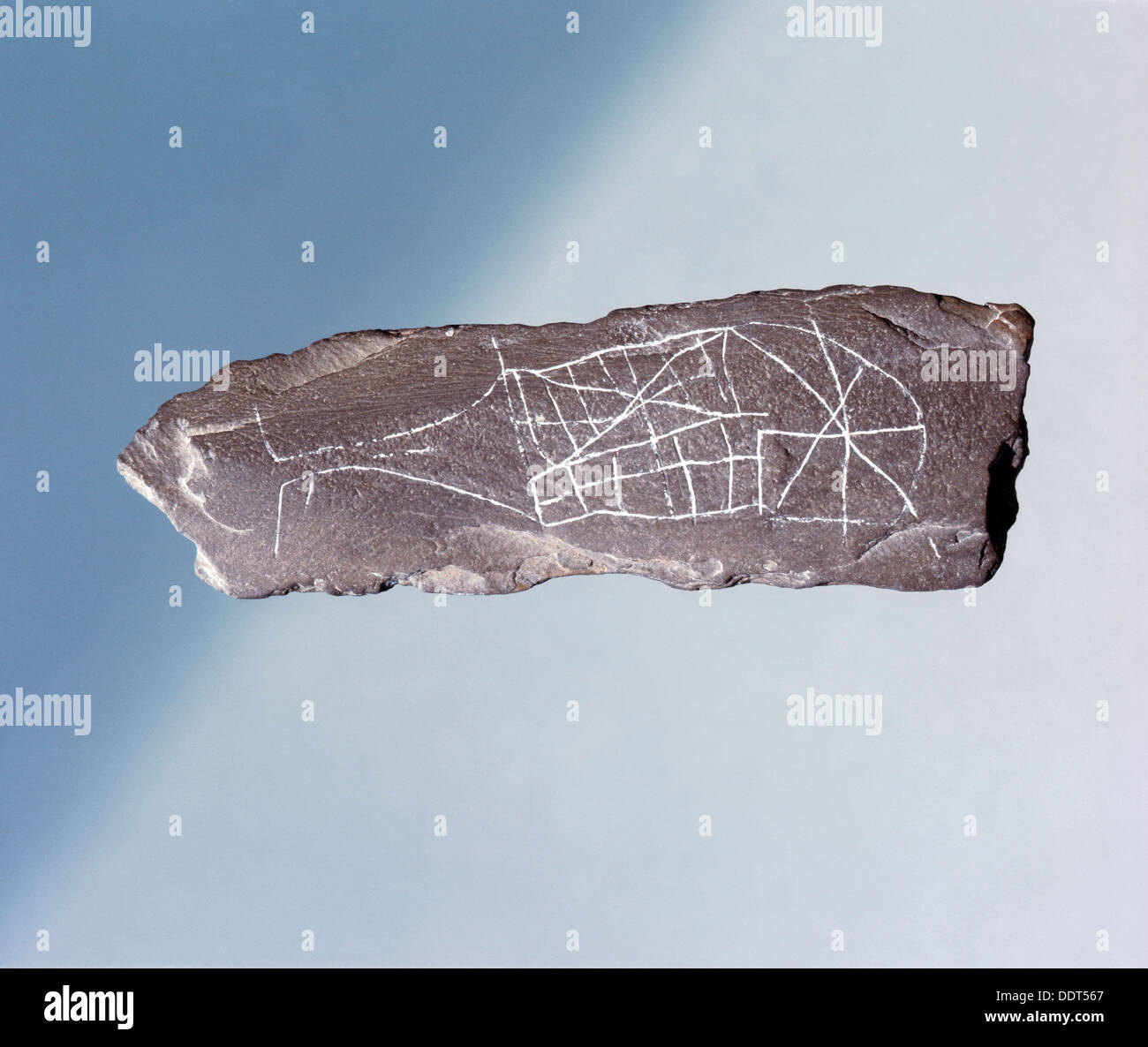 Rock engraved with a figure of a whale, pre-Viking, Sweden. Artist: Werner Forman - Stock Image