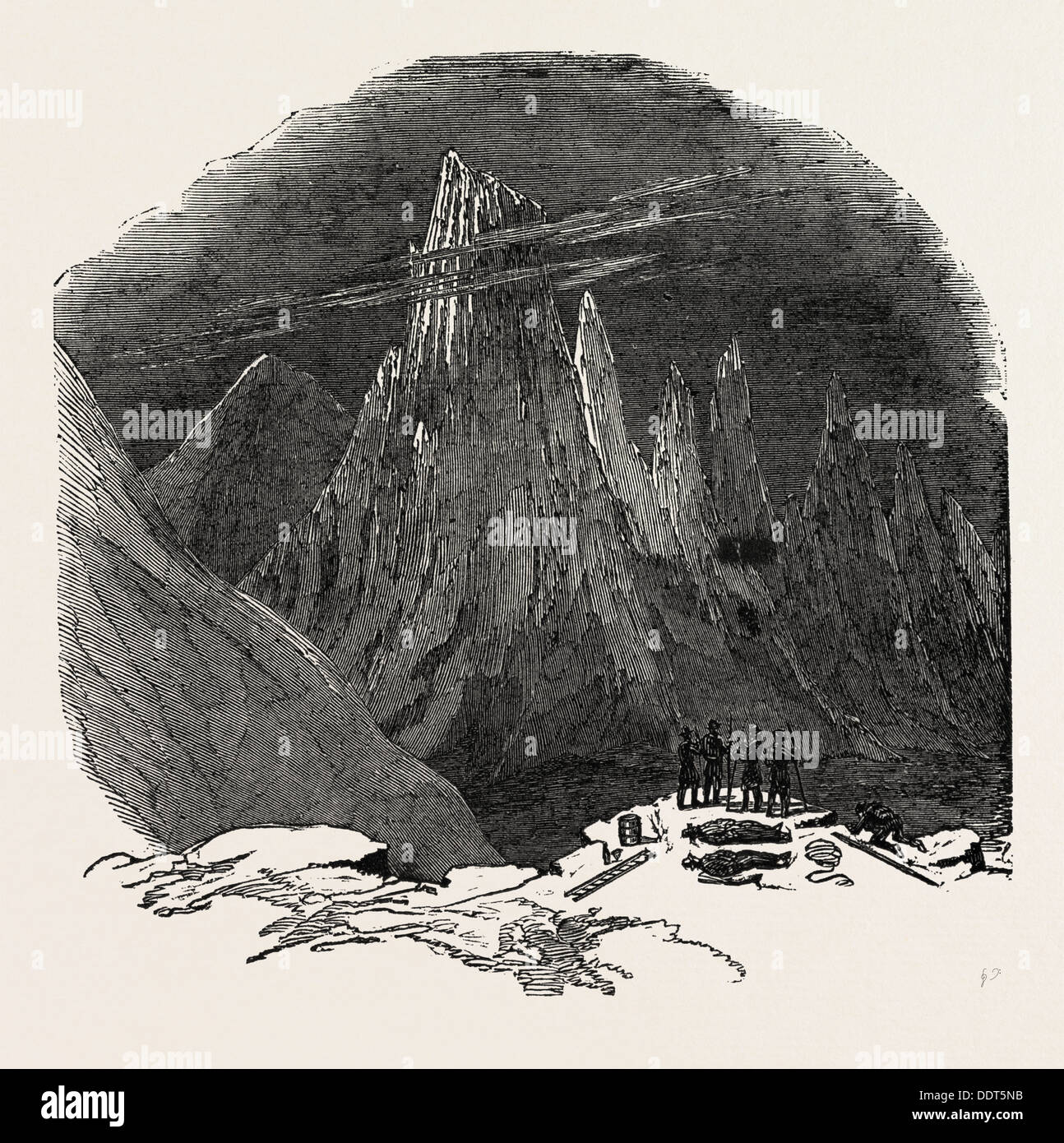 CLIMBING THE MONT BLANC: THE AIGUILLES SANS NOM, SEEN FROM BELOW THE ROCHER ROUGE, ALPS, FRENCH ALPS, FRANCE, 1851 engraving - Stock Image