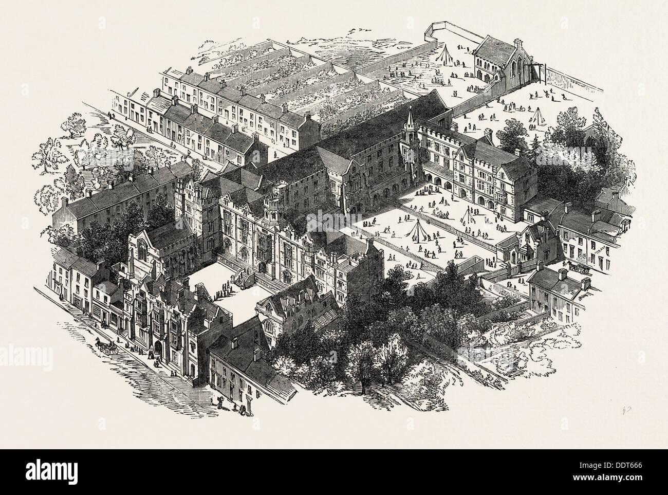 THE WESLEYAN NORMAL COLLEGE, WESTMINSTER, LONDON, UK, 1851 engraving - Stock Image
