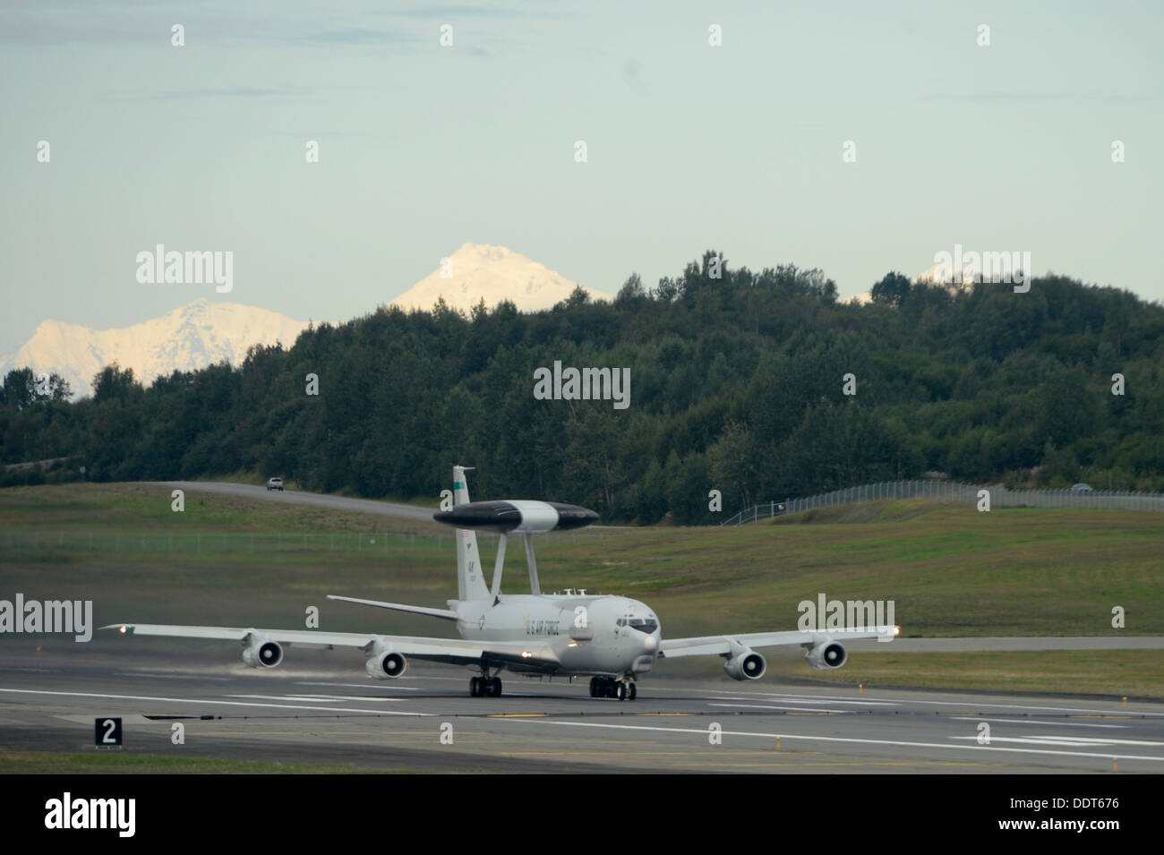 A USAF E-3 Sentry Airborne Warning and Control System out of Joint Base Elmendorf-Richardson takes off in support Stock Photo