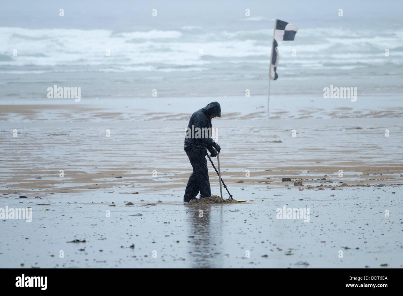 Jew Detector: Man With Metal Detector On Saltburn Beach In Torrential