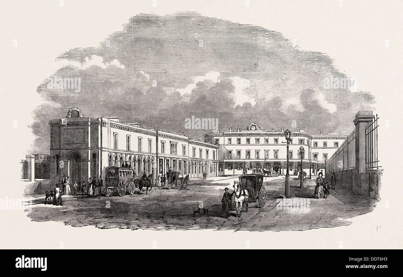 THE NEW TERMINUS OF THE SOUTH EASTERN RAILWAY, AT LONDON BRIDGE, LONDON, UK, 1851 engraving - Stock Image