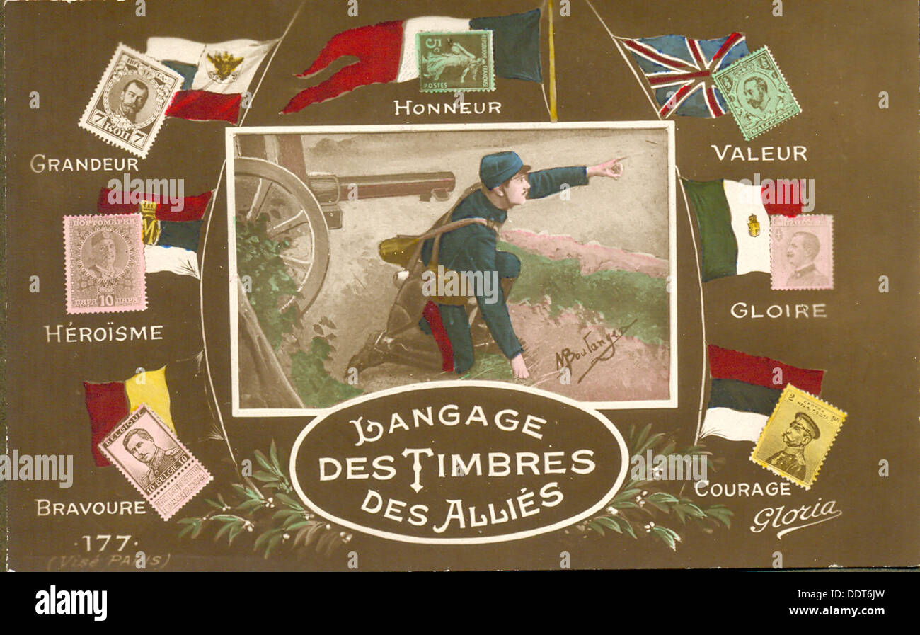 World War One French postcard illustrating stamp messages - Stock Image