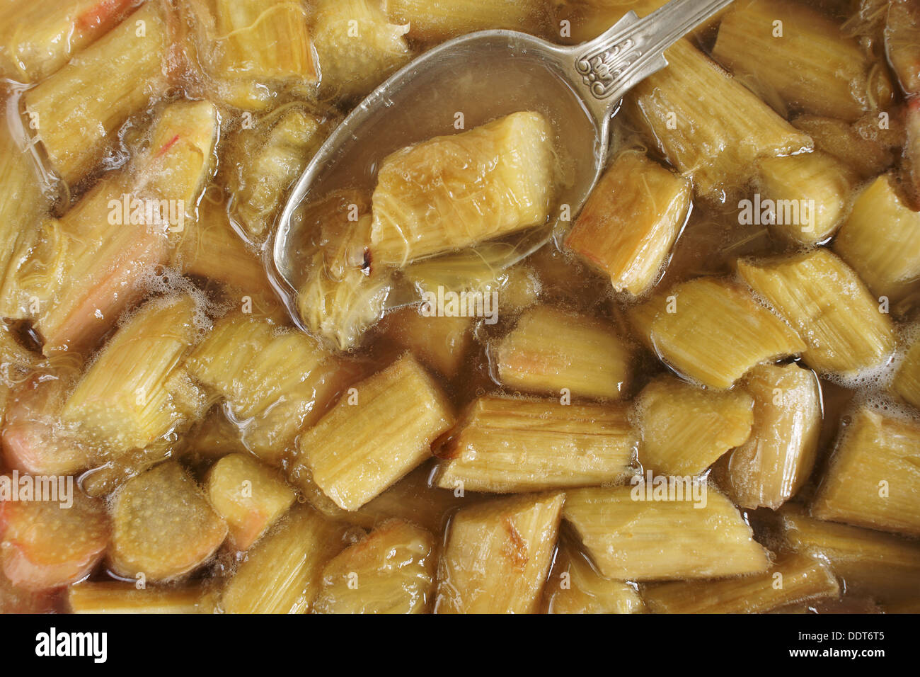 Stewed Rhubarb or Rhubarb baked with sugar and it's own natural juices - Stock Image