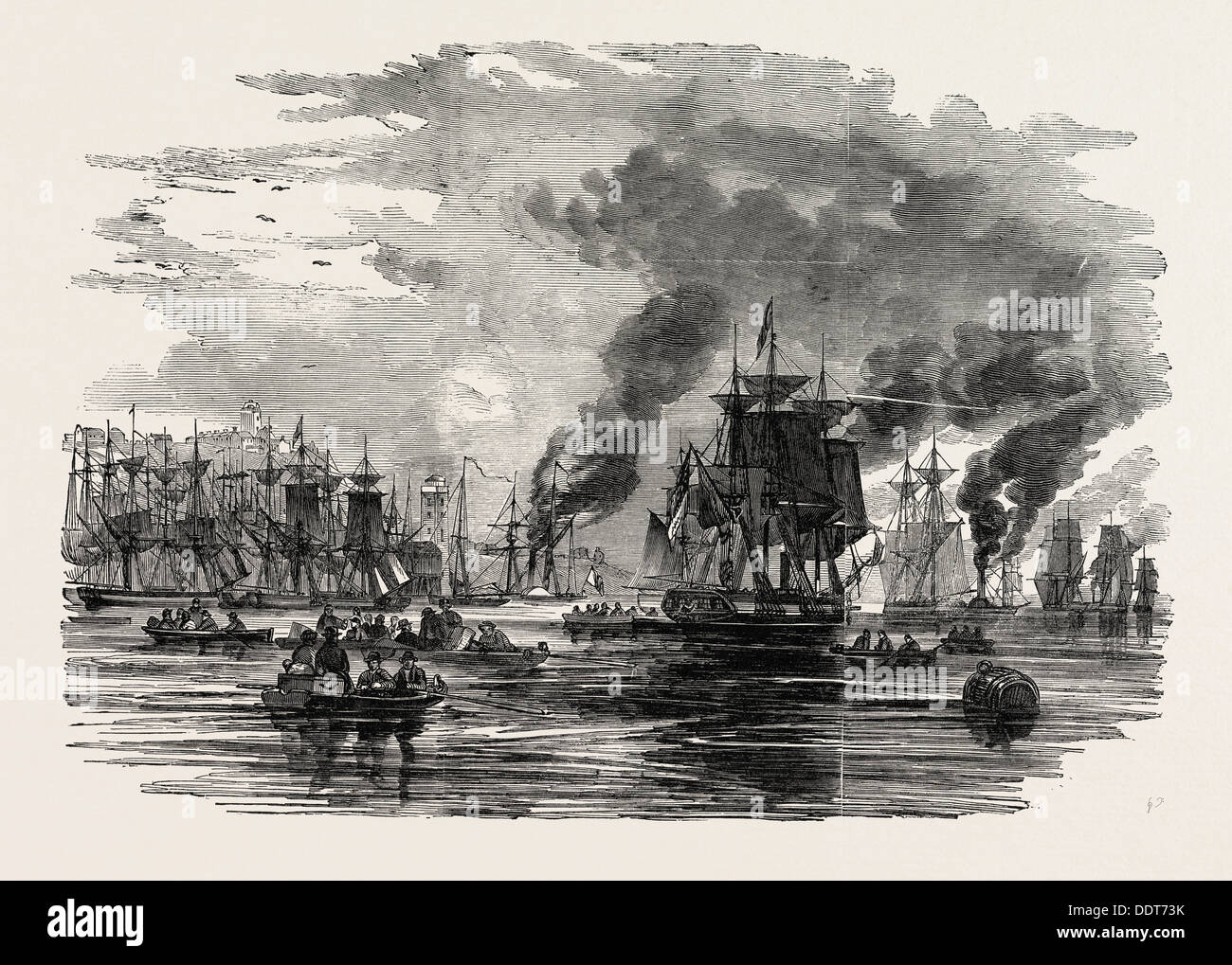 COLLIERS LEAVING THE HARBOUR, NORTH SHIELDS, AFTER THE BREAKING UP OF THE STRIKE, UK, 1851 engraving - Stock Image