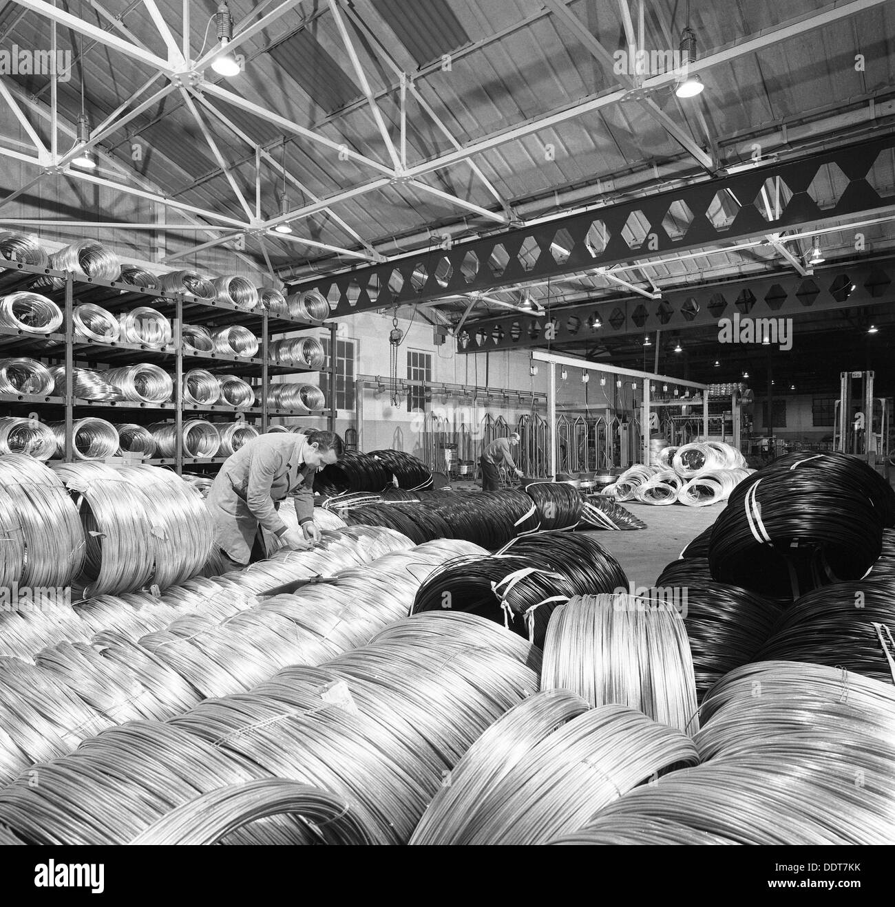 Coils of steel wire, Tinsley Wire Co, Sheffield, South Yorkshire ...