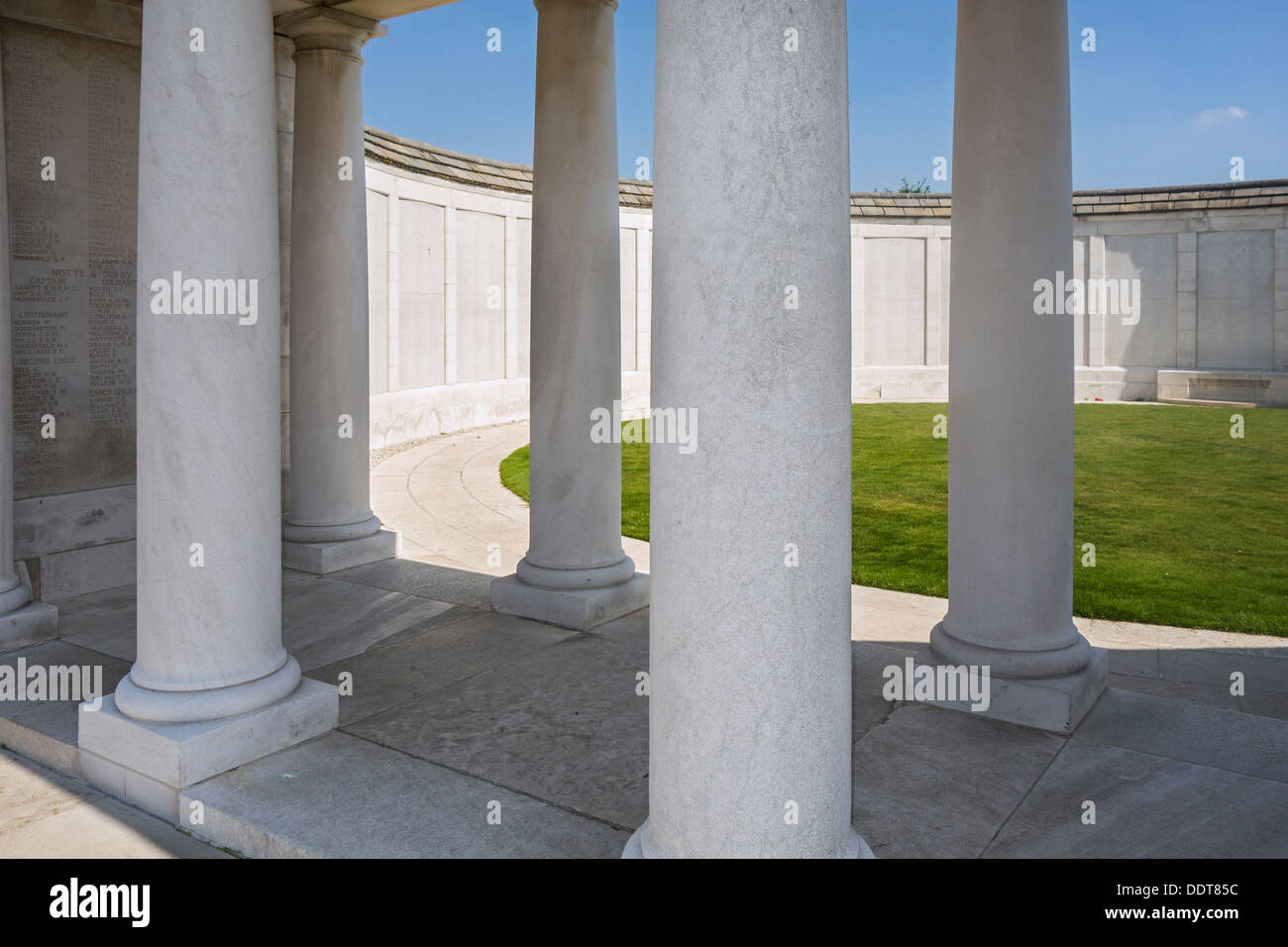 WWI Memorial to the Missing at the Tyne Cot Cemetery for First World War One British soldiers, Zonnebeke, West Flanders, Belgium - Stock Image