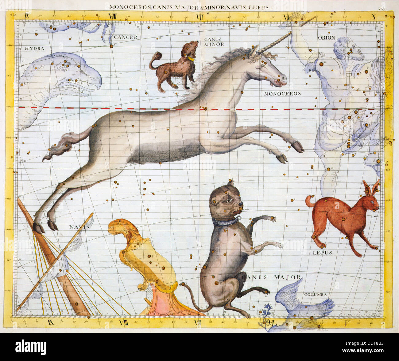 Constellations of Monoceros, Canis Major and Canis Minor, 1729. Artist:  Unknown