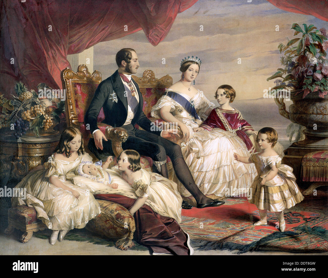 'Queen Victoria and Prince Albert with Five of their Children', 1846. Artist: Unknown - Stock Image