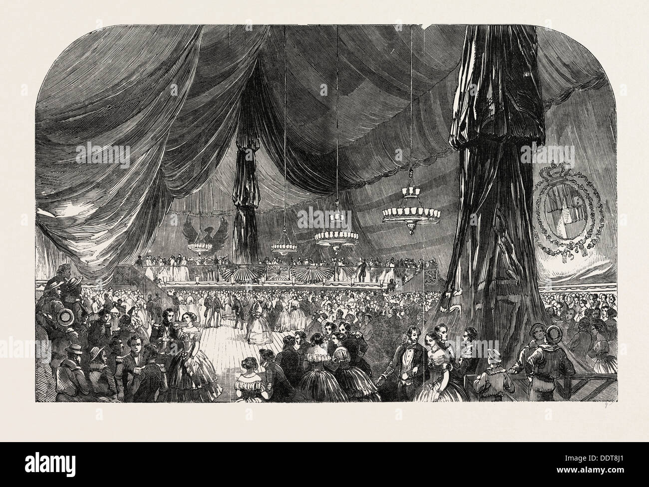 BALL ON BOARD HER MAJESTY'S SHIP WELLESLEY, PORT OF SPAIN. PORT-OF-SPAIN, TRINIDAD AND TOBAGO, 1851 engraving - Stock Image