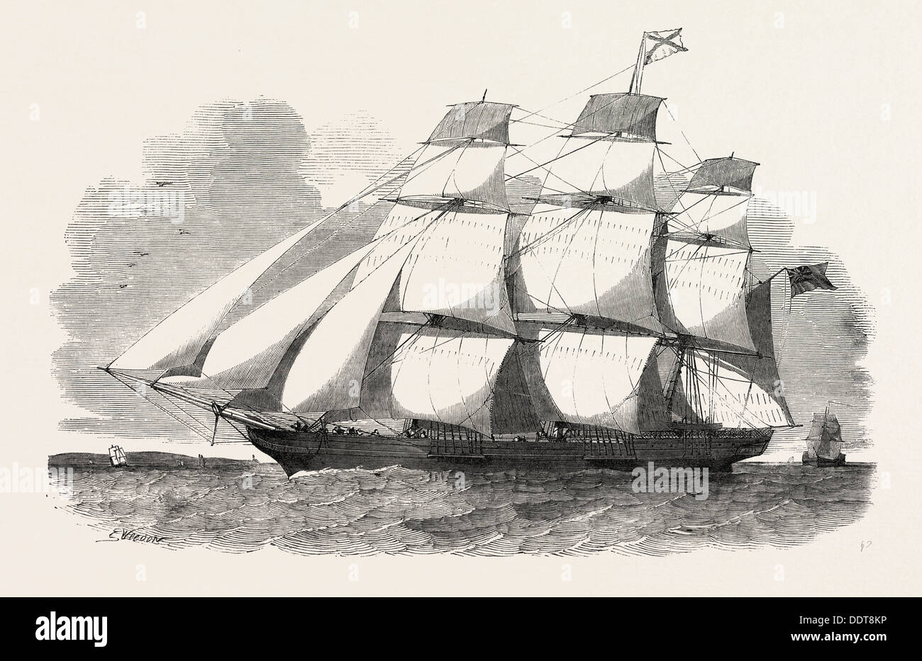 THE ABERGELDIE, ABERDEEN CLIPPER IS A SHIP OF 600 TONS, 1851 engraving - Stock Image
