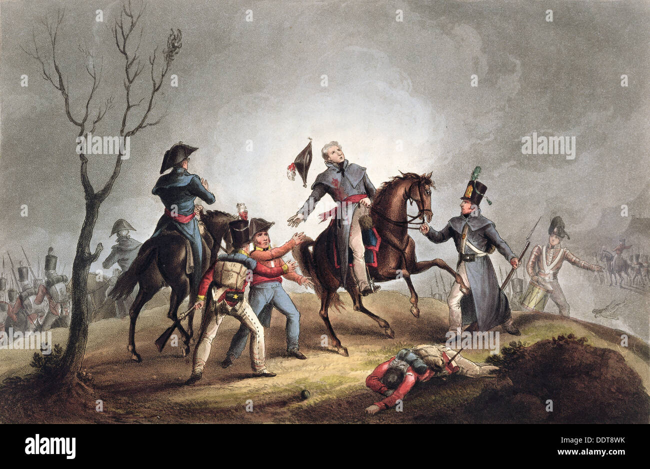 Death of Sir John Moore, La Coruna, Spain, 17th January 1809 (1815). Artist: Thomas Sutherland - Stock Image