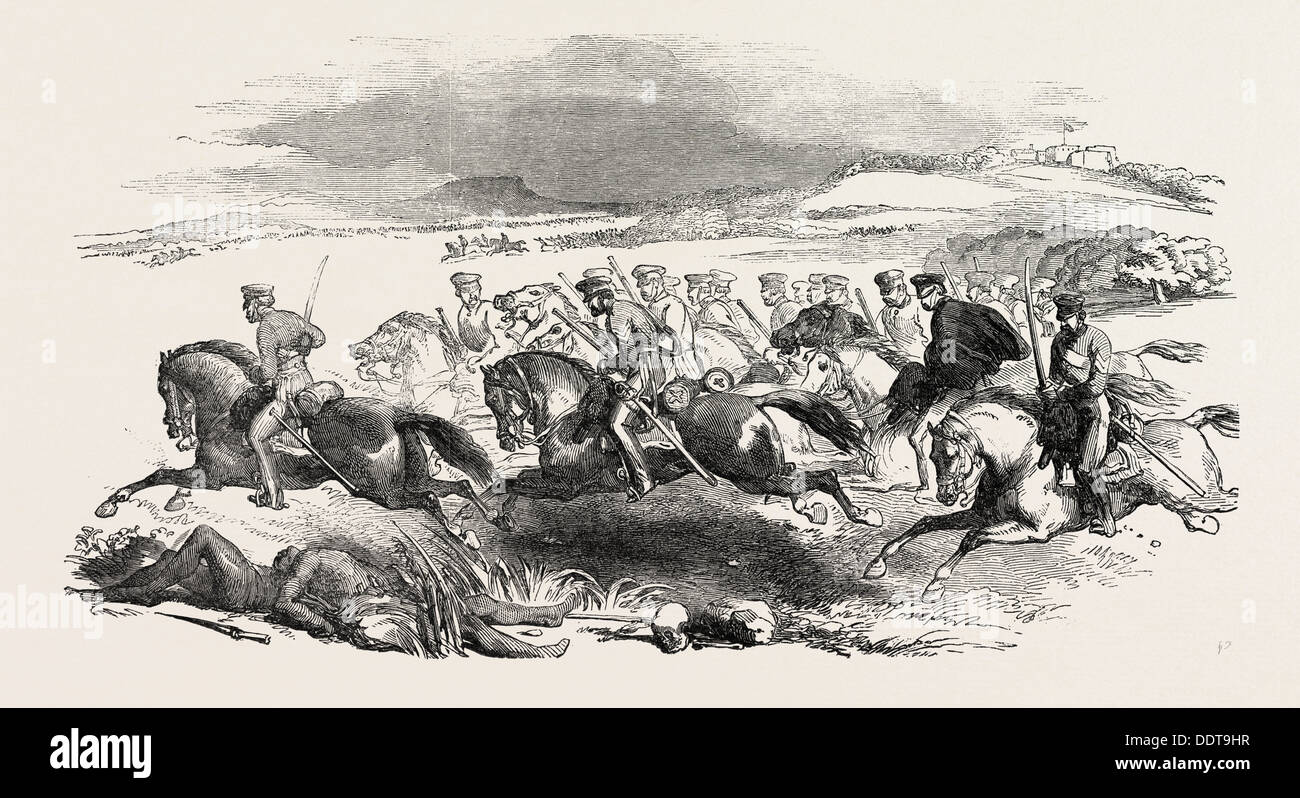 THE KAFFIR WAR: MAJOR-GENERAL SIR HARRY SMITH'S ESCAPE FROM FORT COX, SOUTH AFRICA, 1851 engraving - Stock Image
