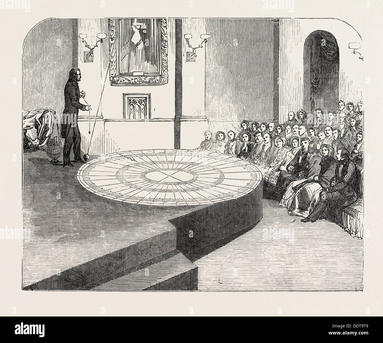 THE ROTATION OF THE EARTH MADE VISIBLE, AT THE POLYTECHNIC INSTITUTION, REGENT SREET, LONDON, UK, 1851 engraving - Stock Image