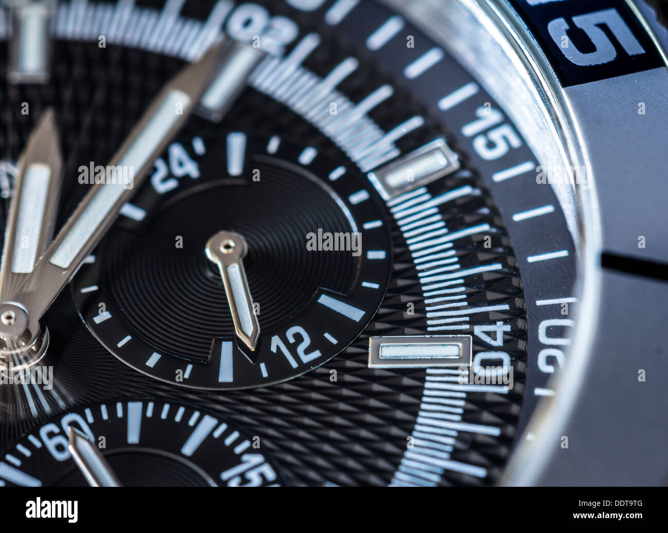 Chronograph detail. Selective focus, shallow depth of field. - Stock Image