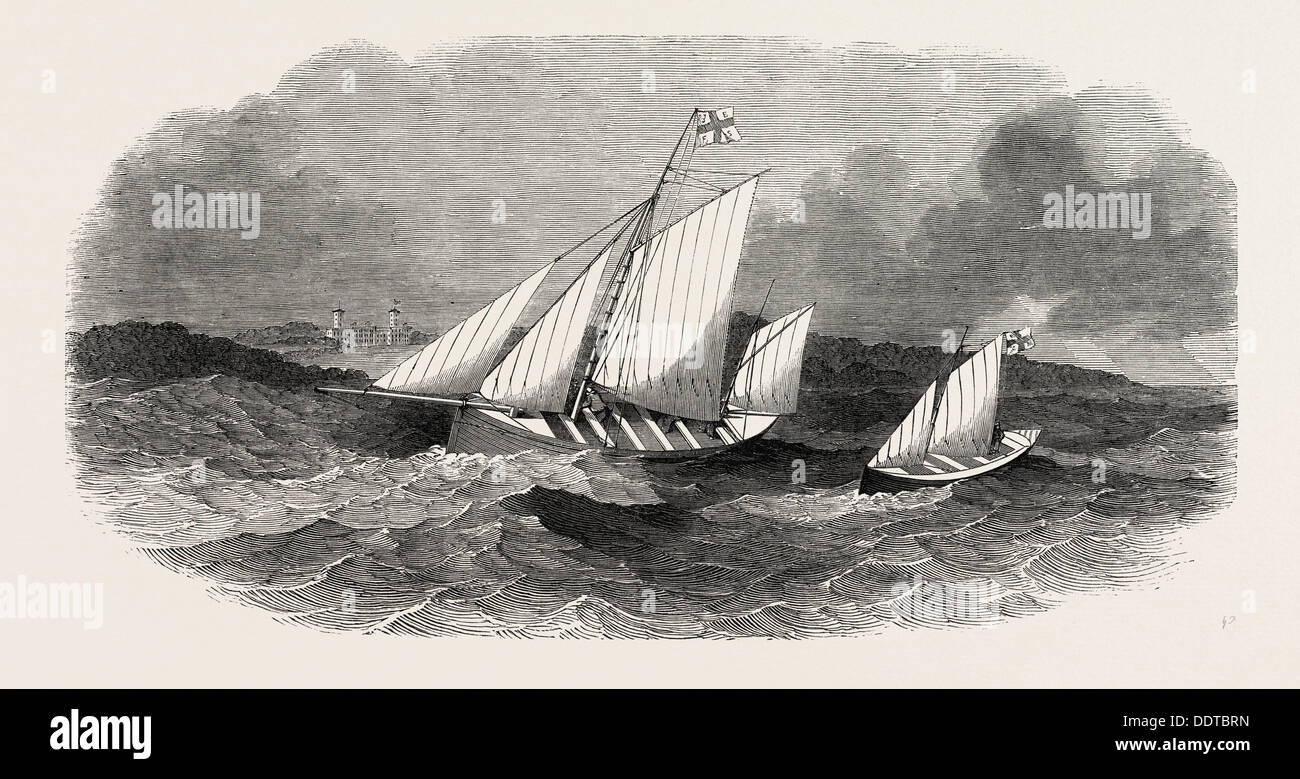 ERRIS FISHING SETTLEMENT LIFE FISHING BOATS, ERRETER AND HOPE, 1851 engraving - Stock Image
