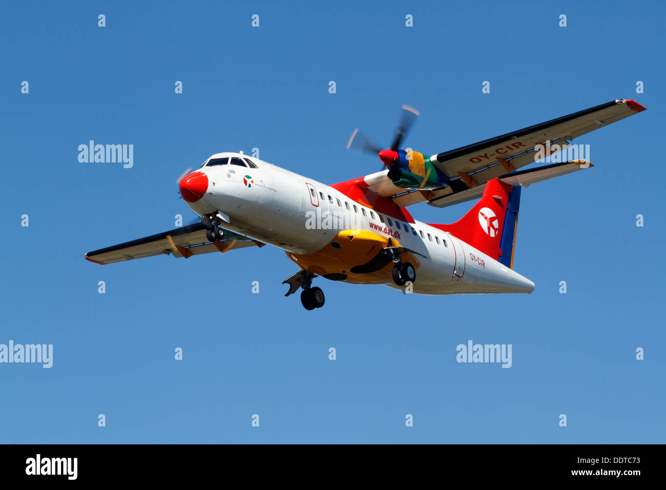 DAT ATR 42-300, OY-CIR, on final approach to Copenhagen Airport, CPH, Kastrup. Twin-turboprop, short-haul. - Stock Image