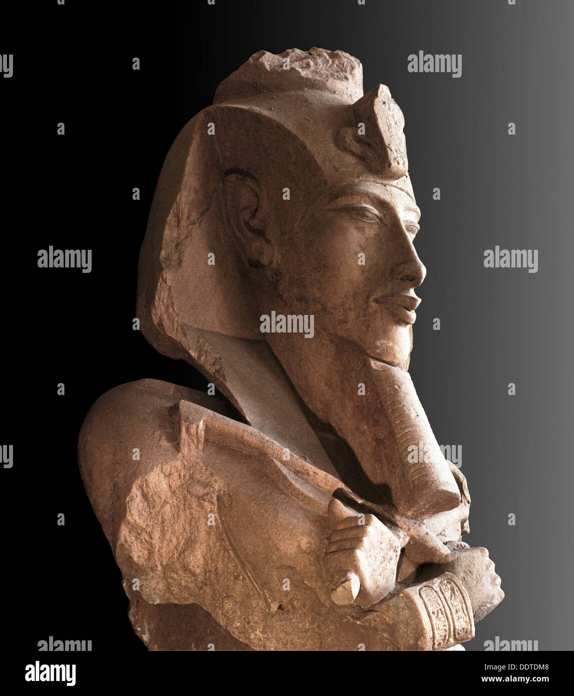 Sandstone bust from a colossal statue of Akhenaten, Ancient Egyptian, Amarna period, c1350-1334 BC. Artist: Werner Forman - Stock Image