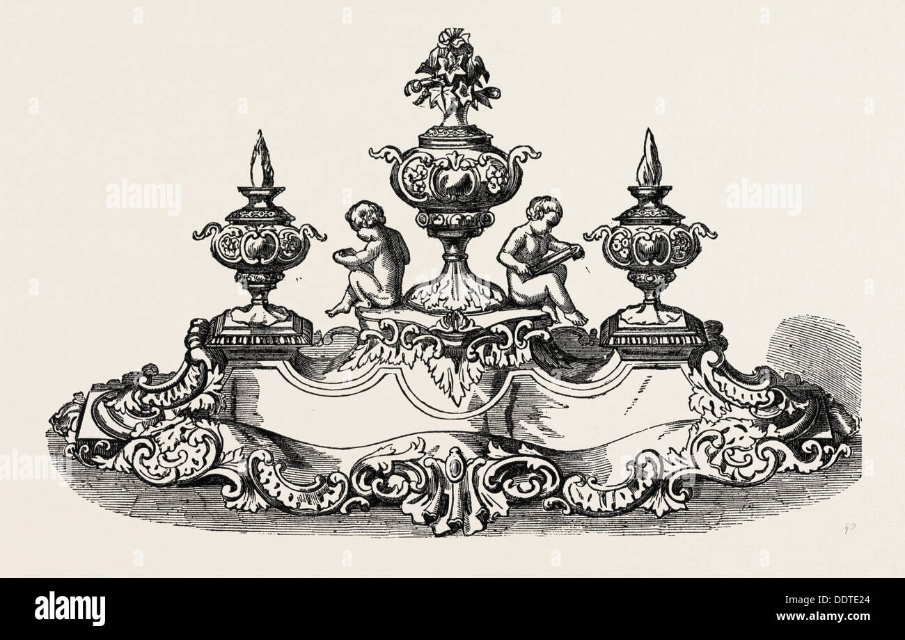 SILVER INKSTAND, BY MESSRS. DODD, CORNHILL, 1851 engraving - Stock Image