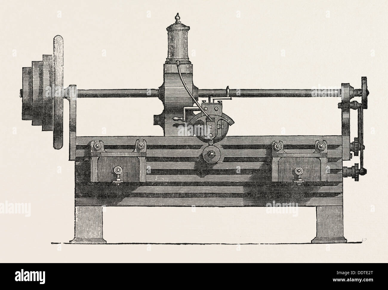 PARR, CURTIS, AND MADELEY'S PLANING MACHINE, 1851 engraving - Stock Image