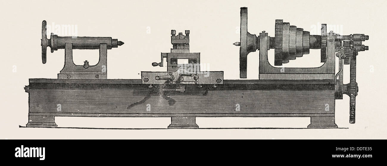 PARR, CURTIS, AND MANDELEY'S LATHE, 1851 engraving - Stock Image