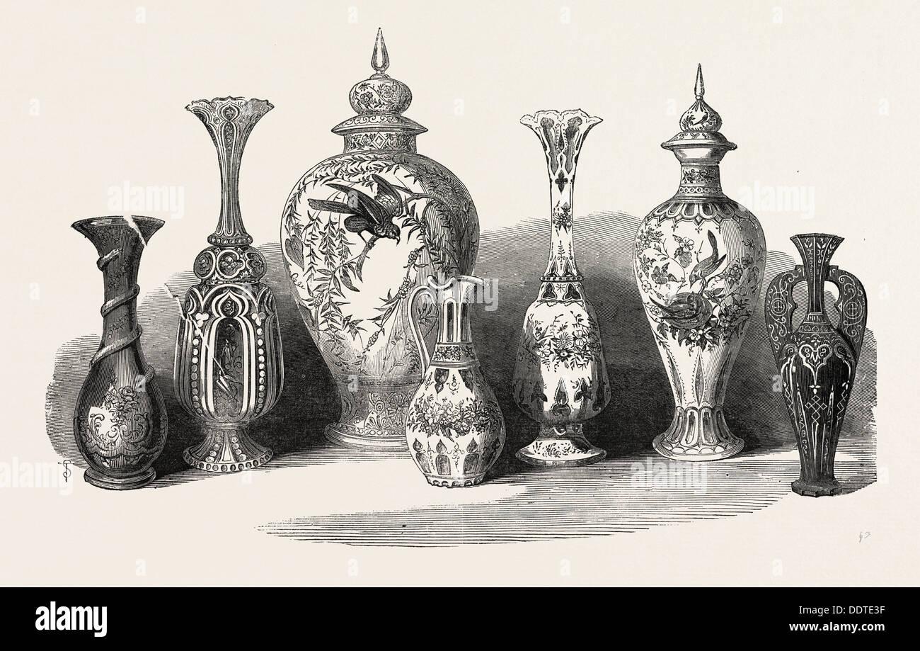 BOHEMIAN GLASS, 1851 engraving - Stock Image