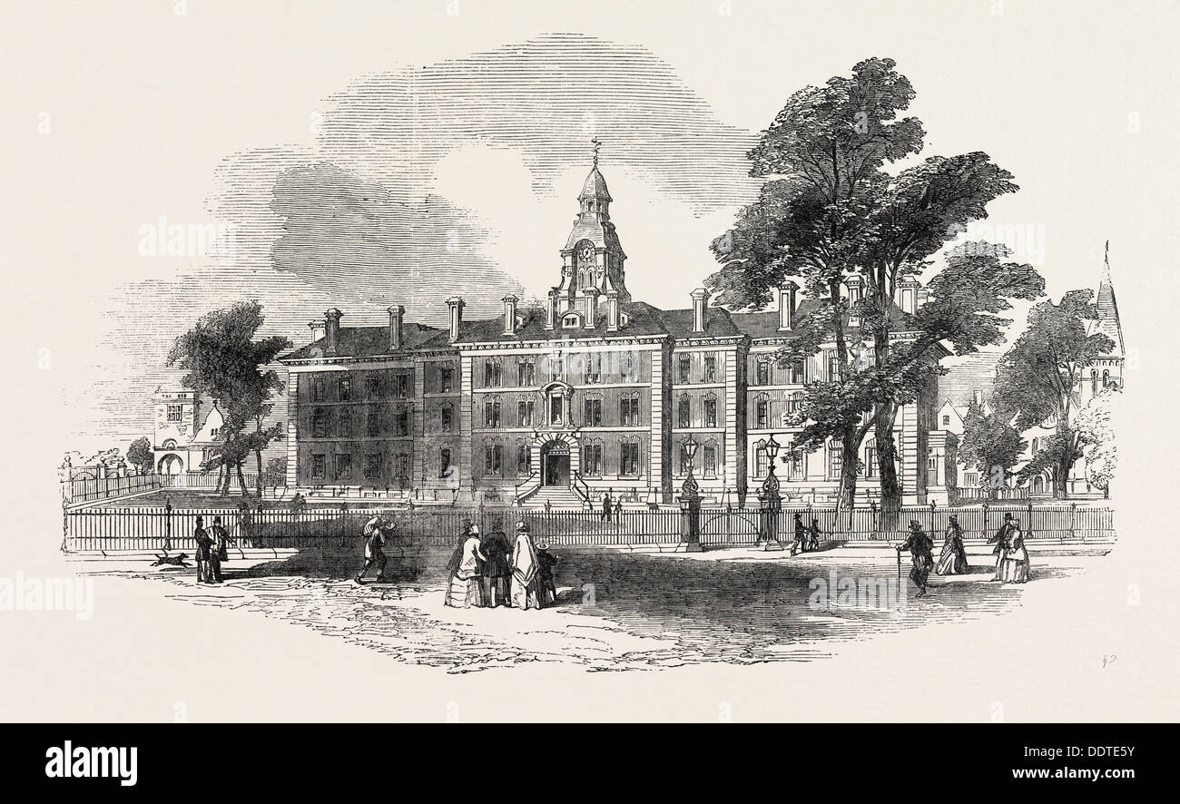 CITY OF LONDON HOSPITAL FOR DISEASES OF THE CHEST, VICTORIA PARK, FIRST STONE LAID, UK, 1851 engraving - Stock Image