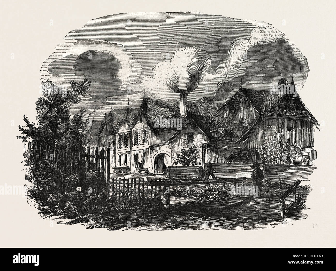 WELLS, IN UPPER AUSTRIA, A WOODCUT IN THE AUSTRIAN PRINTING ESTABLISHMENT, 1851 engraving - Stock Image