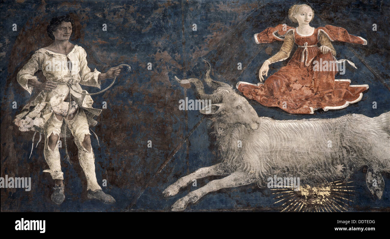 Allegorical representation of the signs of the zodiac by Francesco del Cossa, Italian, c1469-1470. Artist: Werner Forman - Stock Image