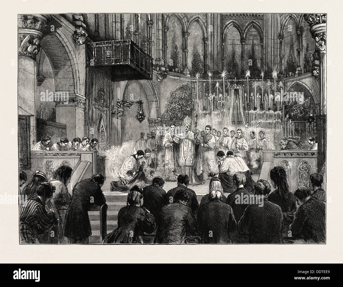 THE ENGLISH PILGRIMAGE TO PARAY-LE-MONIAL,FRANCE: THE BENEDICTION AT THE PRO-CATHEDRAL, SOUTH KENSINGTON, UK, 1873 - Stock Image