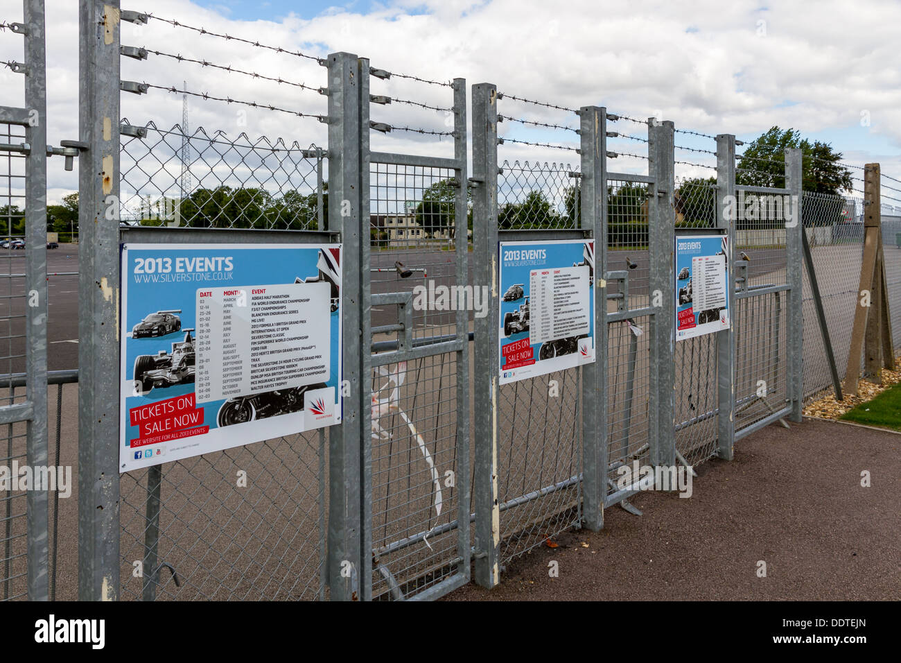 Entrance gates at Silverstone Racing Circuit. - Stock Image