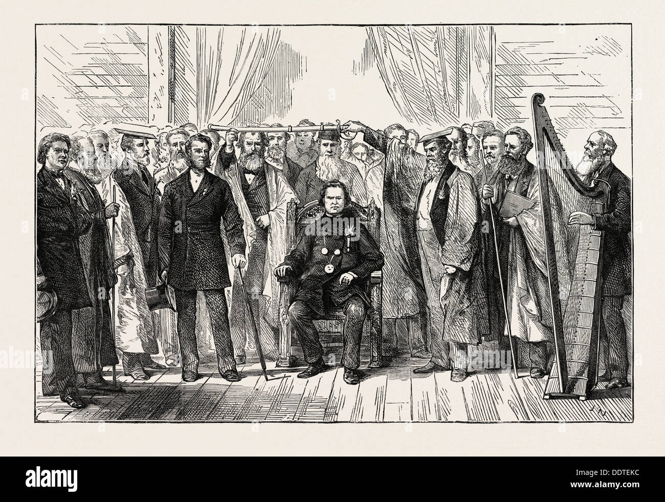 THE MOLD EISTEDDFOD: CHAIRING THE BARD, WALES, UK, 1873 engraving - Stock Image