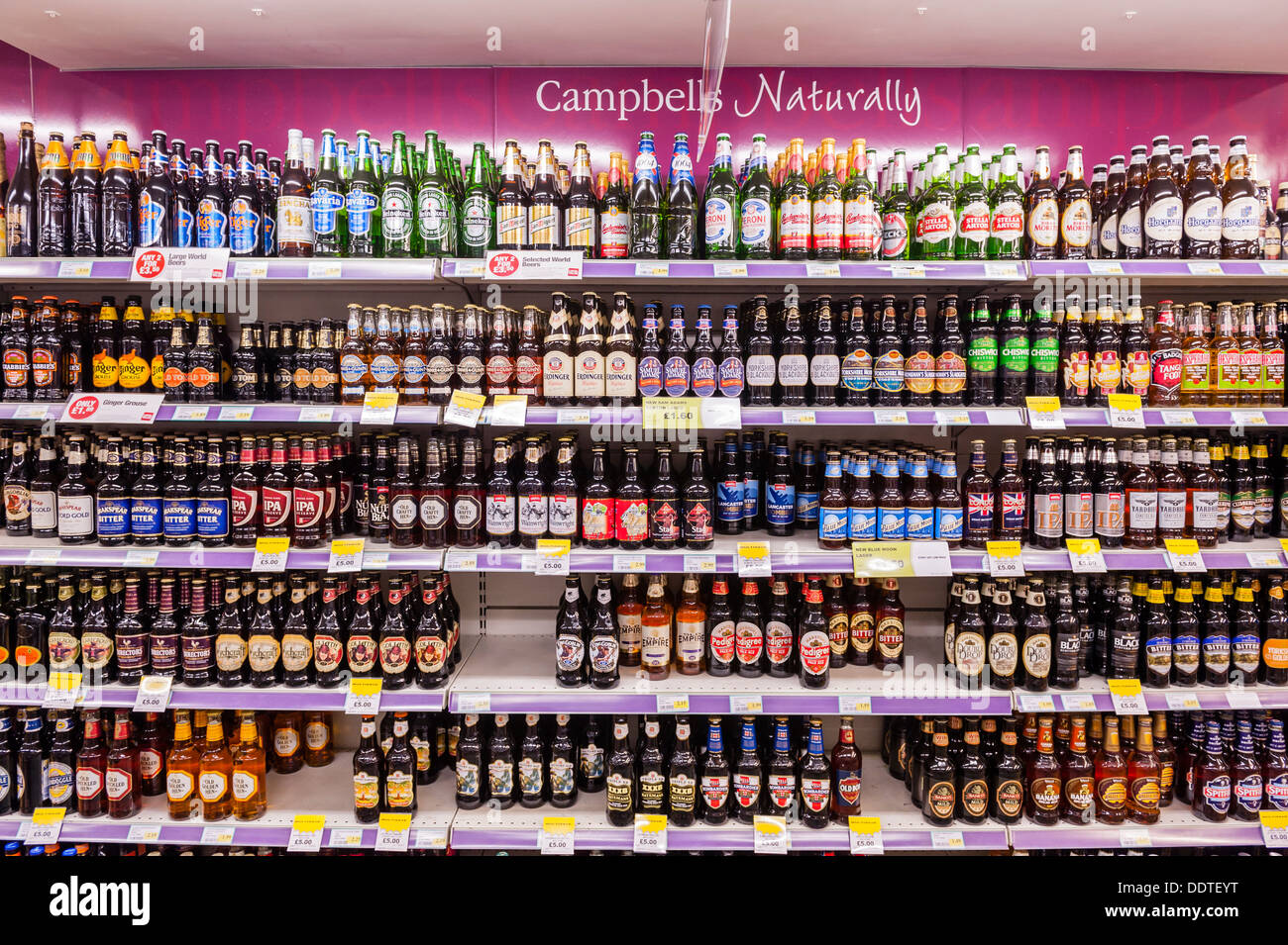 beer and lager and ale for sale on the shelf in a supermarket in the stock photo 60160236 alamy. Black Bedroom Furniture Sets. Home Design Ideas