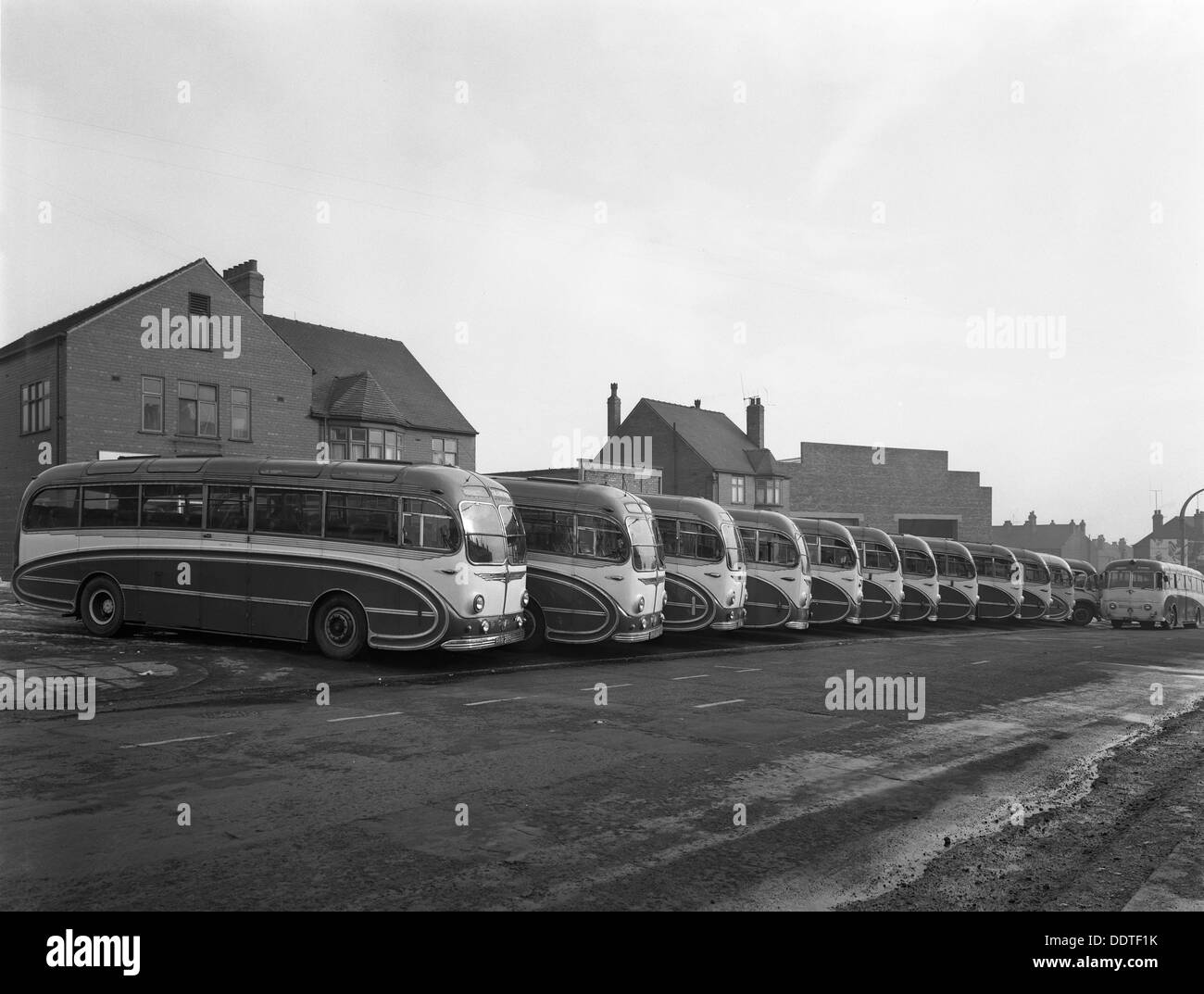Fleet of AEC Regal Mk4s belonging to Philipson's Coaches, Goldthorpe, South Yorkshire, 1963. Artist: Michael Walters - Stock Image