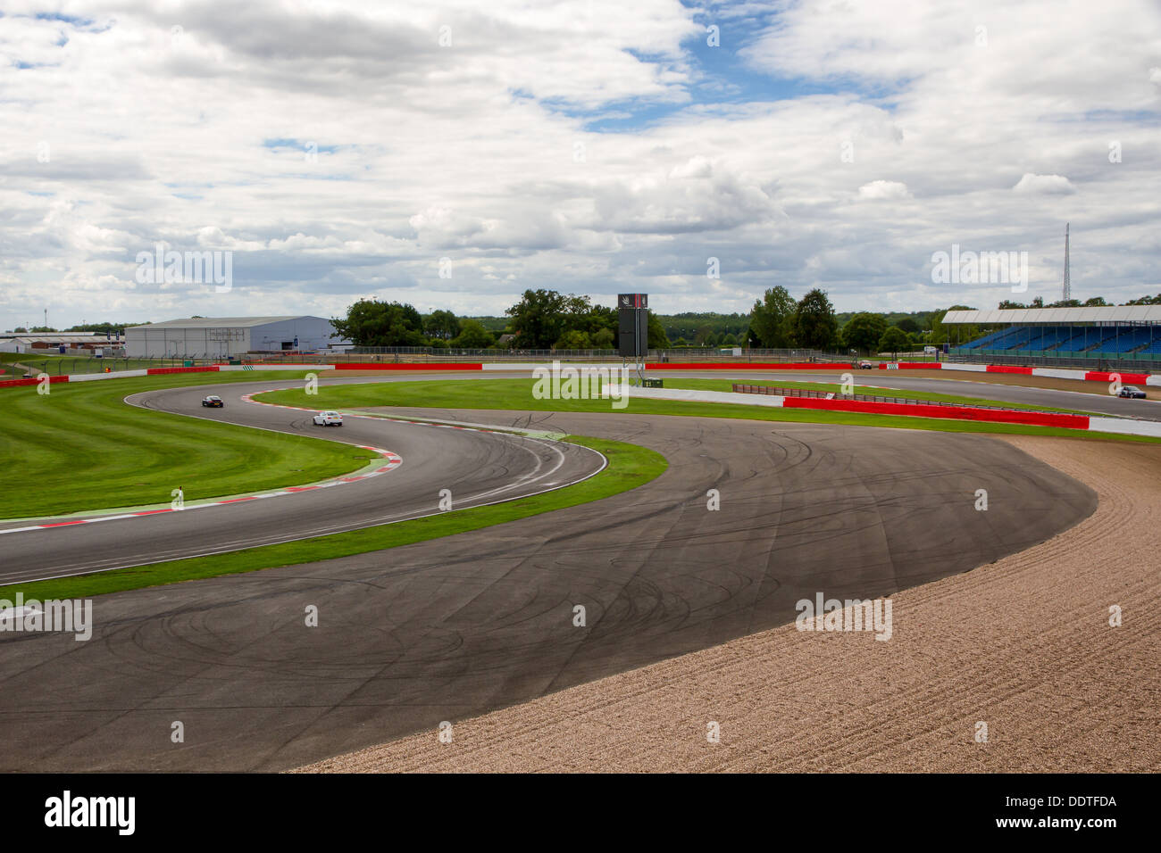 Brooklands, Luffield and Woodcote corners from the roof of the BRDC at Silverstone Racing Circuit. - Stock Image