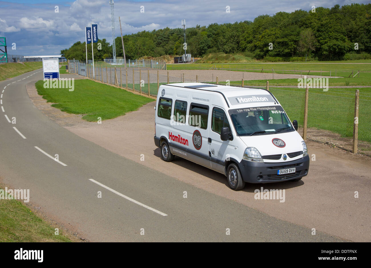 The Lewis Hamilton Minibus used for guided track tours at Silverstone Racing Circuit - Stock Image