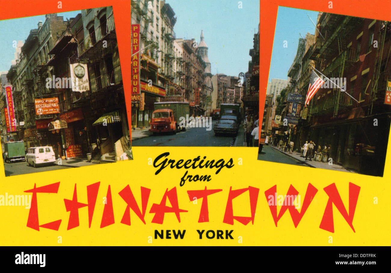 Greetings From Chinatown New York Postcard 1962 Stock Photo