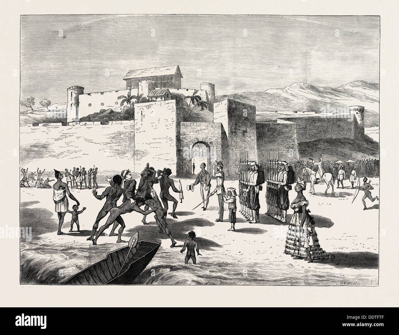 THE ASHANTEE WAR, ARRIVAL OF THE GOVERNOR AT CAPE COAST CASTLE: The delighted Fantees, The Beauty and Fashion, The Tom-Tom Band - Stock Image