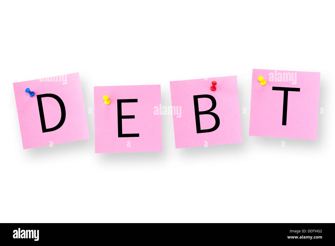 Debt spelled out on white background. - Stock Image